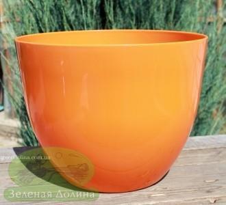 Большое кашпо для цветов «Орхидея» оранжевое