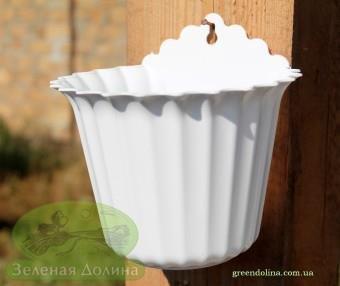 Настенное кашпо для цветов «Астра» белого цвета
