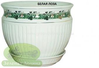 Керамический горшок для цветов «Антика» - модель белая лоза