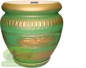 Керамический горшок для цветов «Амфора» зелёного цвета