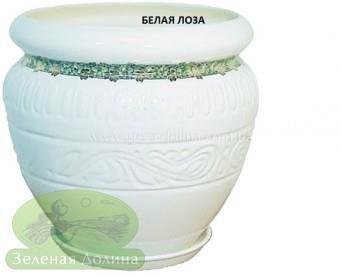 Керамический горшок для цветов «Амфора», рисунок белая лоза