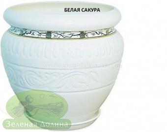 Керамический горшок для цветов «Амфора», рисунок белая сакура