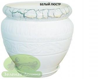 Керамический горшок для цветов «Амфора», рисунок белый люстр