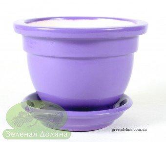Керамический горшок для фиалки фиолетовый