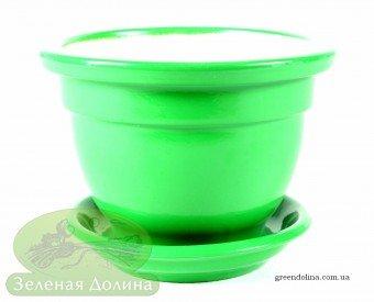 Керамический горшок для фиалки зелёный